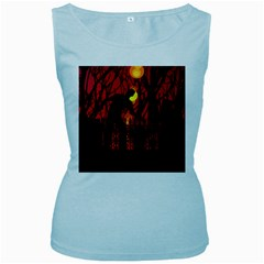 Horror Zombie Ghosts Creepy Women s Baby Blue Tank Top