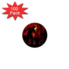 Horror Zombie Ghosts Creepy 1  Mini Buttons (100 Pack)