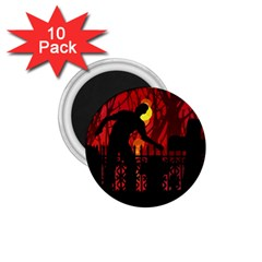 Horror Zombie Ghosts Creepy 1 75  Magnets (10 Pack)