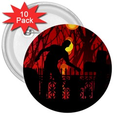 Horror Zombie Ghosts Creepy 3  Buttons (10 Pack)