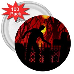 Horror Zombie Ghosts Creepy 3  Buttons (100 Pack)
