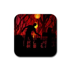 Horror Zombie Ghosts Creepy Rubber Coaster (square)