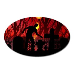 Horror Zombie Ghosts Creepy Oval Magnet