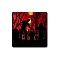 Horror Zombie Ghosts Creepy Square Magnet