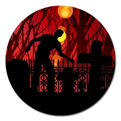 Horror Zombie Ghosts Creepy Magnet 5  (round)
