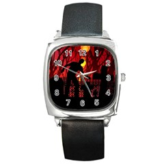 Horror Zombie Ghosts Creepy Square Metal Watch