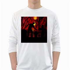 Horror Zombie Ghosts Creepy White Long Sleeve T Shirts