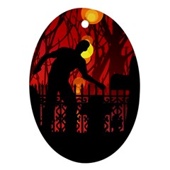 Horror Zombie Ghosts Creepy Oval Ornament (two Sides)