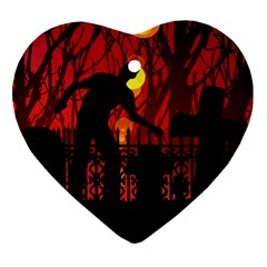 Horror Zombie Ghosts Creepy Heart Ornament (2 Sides)