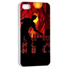Horror Zombie Ghosts Creepy Apple Iphone 4/4s Seamless Case (white)