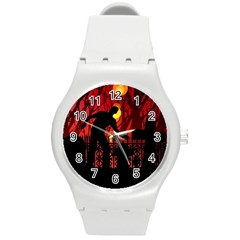 Horror Zombie Ghosts Creepy Round Plastic Sport Watch (m)