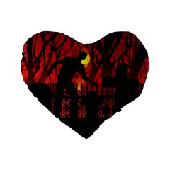 Horror Zombie Ghosts Creepy Standard 16  Premium Heart Shape Cushions