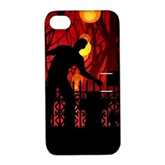Horror Zombie Ghosts Creepy Apple Iphone 4/4s Hardshell Case With Stand