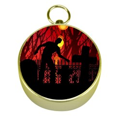 Horror Zombie Ghosts Creepy Gold Compasses
