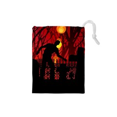 Horror Zombie Ghosts Creepy Drawstring Pouches (small)
