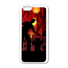 Horror Zombie Ghosts Creepy Apple Iphone 6/6s White Enamel Case