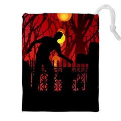Horror Zombie Ghosts Creepy Drawstring Pouches (XXL)