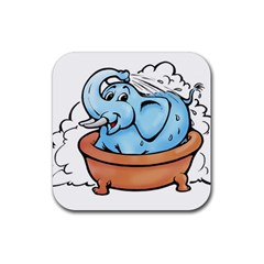 Elephant Bad Shower Rubber Square Coaster (4 Pack)