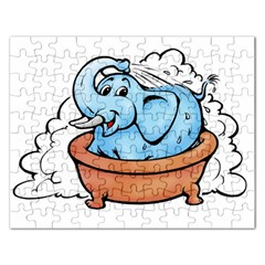 Elephant Bad Shower Rectangular Jigsaw Puzzl