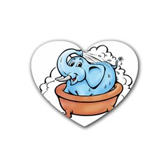 Elephant Bad Shower Rubber Coaster (heart)