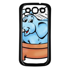 Elephant Bad Shower Samsung Galaxy S3 Back Case (black)