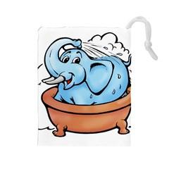 Elephant Bad Shower Drawstring Pouches (large)