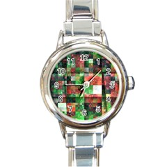 Paper Background Color Graphics Round Italian Charm Watch