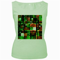 Paper Background Color Graphics Women s Green Tank Top