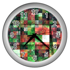 Paper Background Color Graphics Wall Clocks (silver)