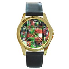 Paper Background Color Graphics Round Gold Metal Watch