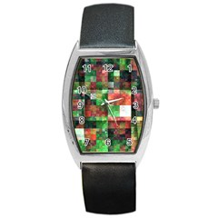 Paper Background Color Graphics Barrel Style Metal Watch