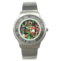 Paper Background Color Graphics Stainless Steel Watch