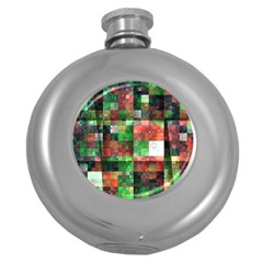 Paper Background Color Graphics Round Hip Flask (5 Oz)
