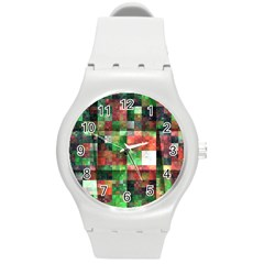 Paper Background Color Graphics Round Plastic Sport Watch (m)
