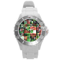 Paper Background Color Graphics Round Plastic Sport Watch (l)