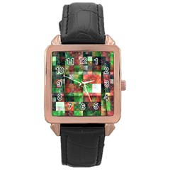 Paper Background Color Graphics Rose Gold Leather Watch