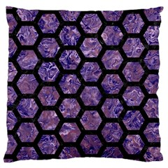 Hexagon2 Black Marble & Purple Marble (r) Large Cushion Case (one Side)