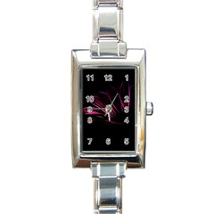 Purple Flower Pattern Design Abstract Background Rectangle Italian Charm Watch