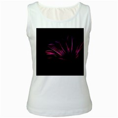 Purple Flower Pattern Design Abstract Background Women s White Tank Top