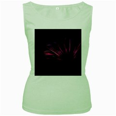 Purple Flower Pattern Design Abstract Background Women s Green Tank Top