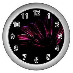 Purple Flower Pattern Design Abstract Background Wall Clocks (silver)