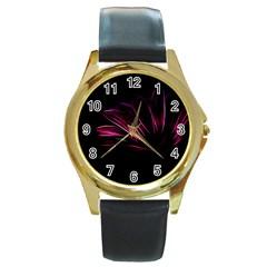 Purple Flower Pattern Design Abstract Background Round Gold Metal Watch