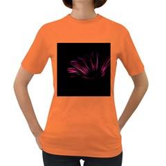 Purple Flower Pattern Design Abstract Background Women s Dark T Shirt