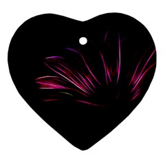 Purple Flower Pattern Design Abstract Background Heart Ornament (2 Sides)