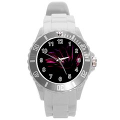 Purple Flower Pattern Design Abstract Background Round Plastic Sport Watch (l)