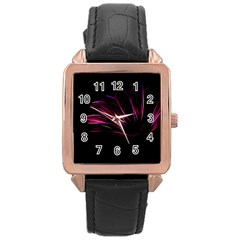 Purple Flower Pattern Design Abstract Background Rose Gold Leather Watch