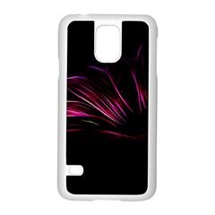Purple Flower Pattern Design Abstract Background Samsung Galaxy S5 Case (white)