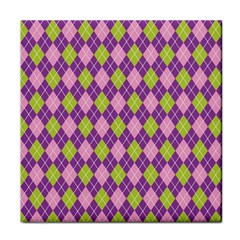 Purple Green Argyle Background Face Towel