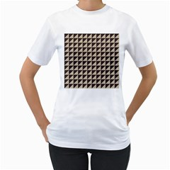 Brown Triangles Background Pattern  Women s T Shirt (white) (two Sided)