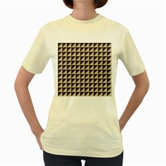 Brown Triangles Background Pattern  Women s Yellow T-Shirt